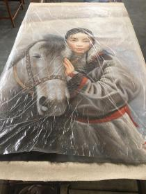 1977年手绘西藏少女与马油画一幅,画布尺寸:102*72厘米,落款人:艾轩,品如图,600包邮。