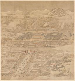 徐扬 京师生春诗意图轴。纸本大小(缩印)133.05*144.51厘米。宣纸艺术微喷复制。440元包邮