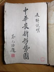 民国十八年版《中华最新形势图》蔡元培主编 其中有当时全球华人聚居地图,各省人文资源分布,各帝国主义与华条约和利益列表,世界列国属地表等。