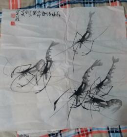 花鸟画家马宝龙(号三江钓叟)中国画作品:水塘清趣·虾【卖家保真】