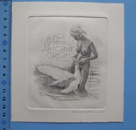 雕刻版藏书票《丽达与天鹅》