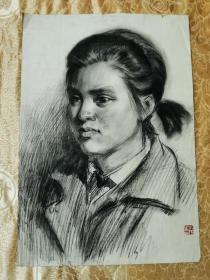 湖南著名画家郑小娟素描人物画一幅(3)