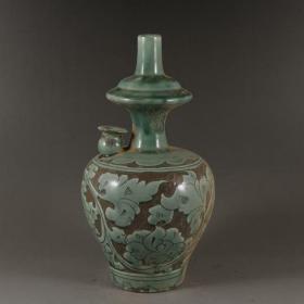 磁州窑绿釉缠枝净水瓶