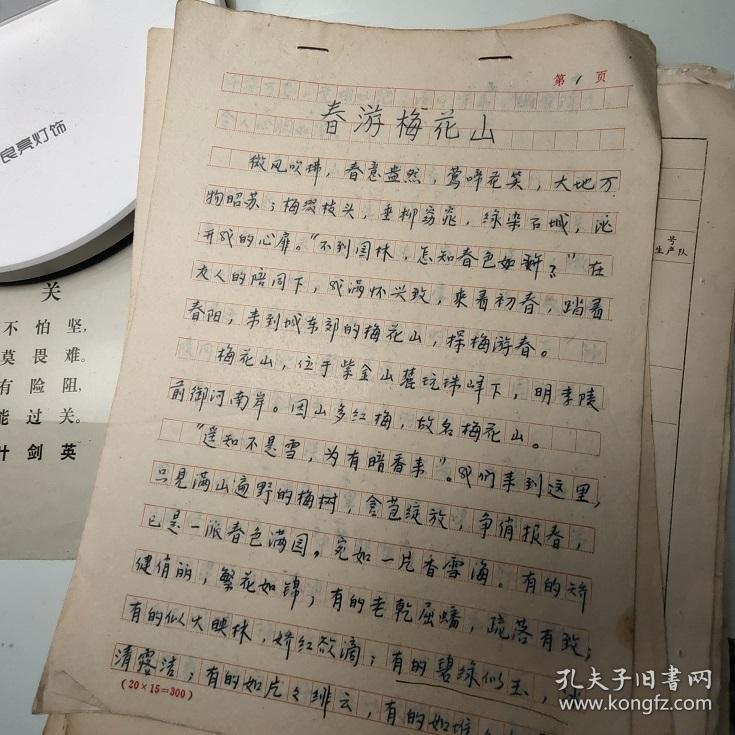 手稿(春游梅花山)4页、提及孙权、朱元璋、孙权墓、南京中山陵梅花山