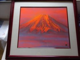 红富士,日本画岩彩画原作,真迹保证