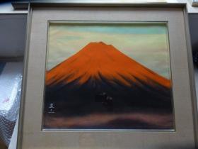 红富士 (作者:杉浦盈二,师中村岳陵),日本画岩彩画原作,真迹保证
