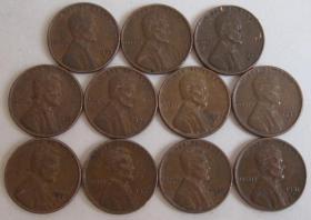 """美国硬币195X年1美分(林肯头像,背谷穗环绕着""""ONE CENT""""字样) 单枚价 买两枚以上包邮"""