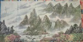 朝鲜画家巨幅中国山水画(第三幅)