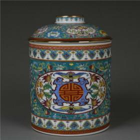 清珐琅彩描金绿地寿字茶叶罐
