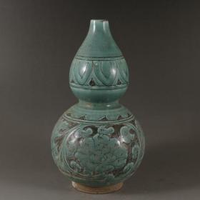 磁州窑绿釉刻花葫芦瓶