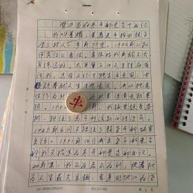 手稿:21页、寿光市稻田镇王望三村,董耀的先进幸迹