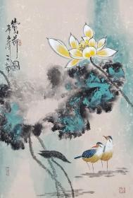 【保真】实力派画家天语作品:赏荷图