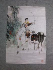 四川著名画家 李老 精品国画人物画原稿老旧画心 真迹永久保真