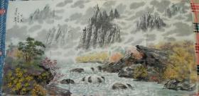 朝鲜画家巨幅中国山水画(第五幅)