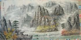 朝鲜画家巨幅中国山水画(第六幅)