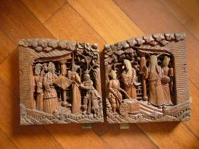 民国 雕刻板(住房或床檐自鉴)【人物雕刻】【二块一对】