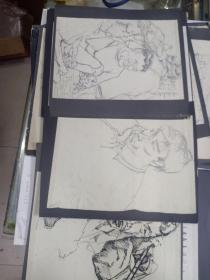 手绘漫画10张,尺寸不一