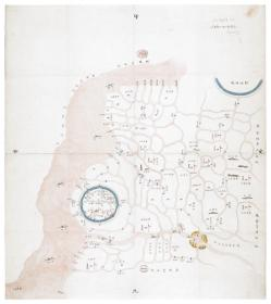 古地图1870 上海县水道营汛图 清同治9年。纸本大小55.46*62.38厘米。宣纸艺术微喷复制。110元包邮