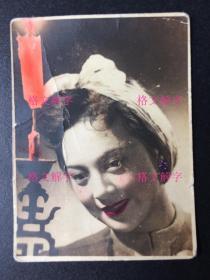 民国 老照片  美女 明星 王丹凤 手工上色 背面有 上海 良友照片