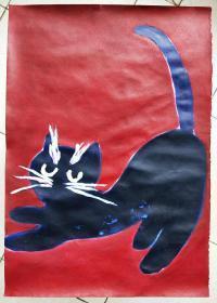 青年书画家胡子彩墨绘画作品:《白胡子的猫》