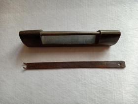 清代铜锁 大铜锁 带钥匙 12.6x1.8cm 高3.2cm 大锁 钥匙长14.4cm
