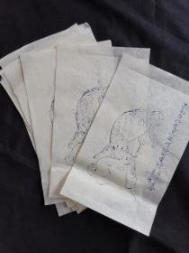 信笺老纸木板水印5张