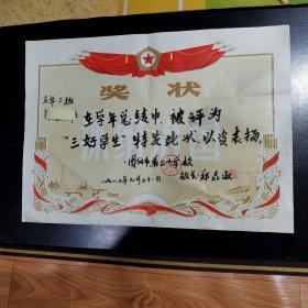 """奖状 :1980年""""三好学生""""底纹""""抓纲治国"""""""