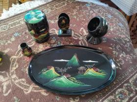 80年代老福州工艺品脱胎漆器手工绘制山水画漆器烟具老物件五件套全新未使用原包装