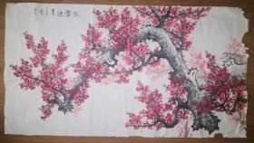 手绘真迹国画:墨石《傲雪迎春》六尺
