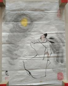 著名画家 刘旦宅 精美国画《李白纵酒赏月图》