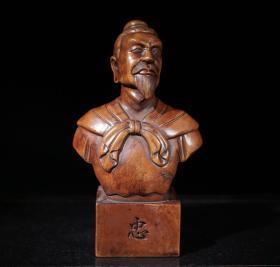 木雕人物印章摆件