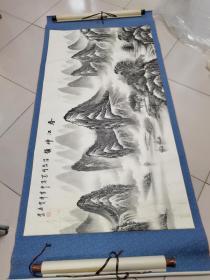 广东著名山水画家刘一民约13平尺保真