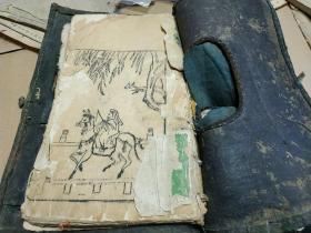 明末清初 木刻版画图一册,大量历史典故、花鸟、博古图等精妙图案,是书画入门的绝佳画谱。书名不详。