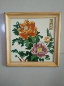 洛阳牡丹 瓷板画