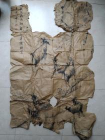 民国山东黄县贾荫梧《群羊图》,可惜品不好了!他的画少见!丙戌年应该是1946年的作品!