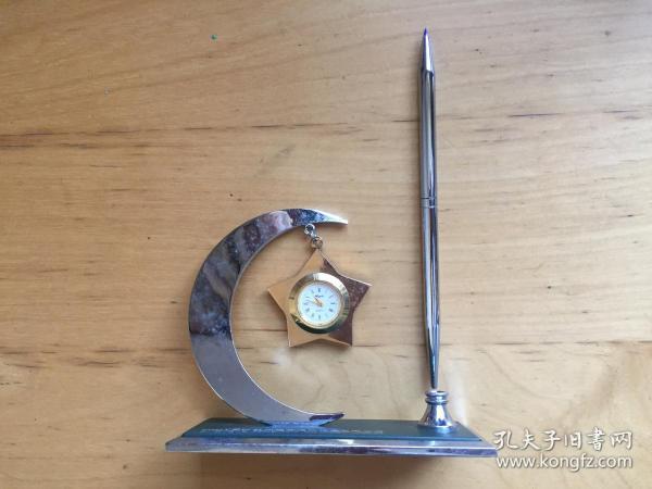 工藝禮品 帶時鐘筆座 辦公室擺件 桌面個性擺件 (企業定制)