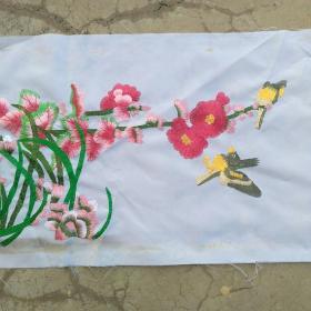 兰花鸟刺绣品