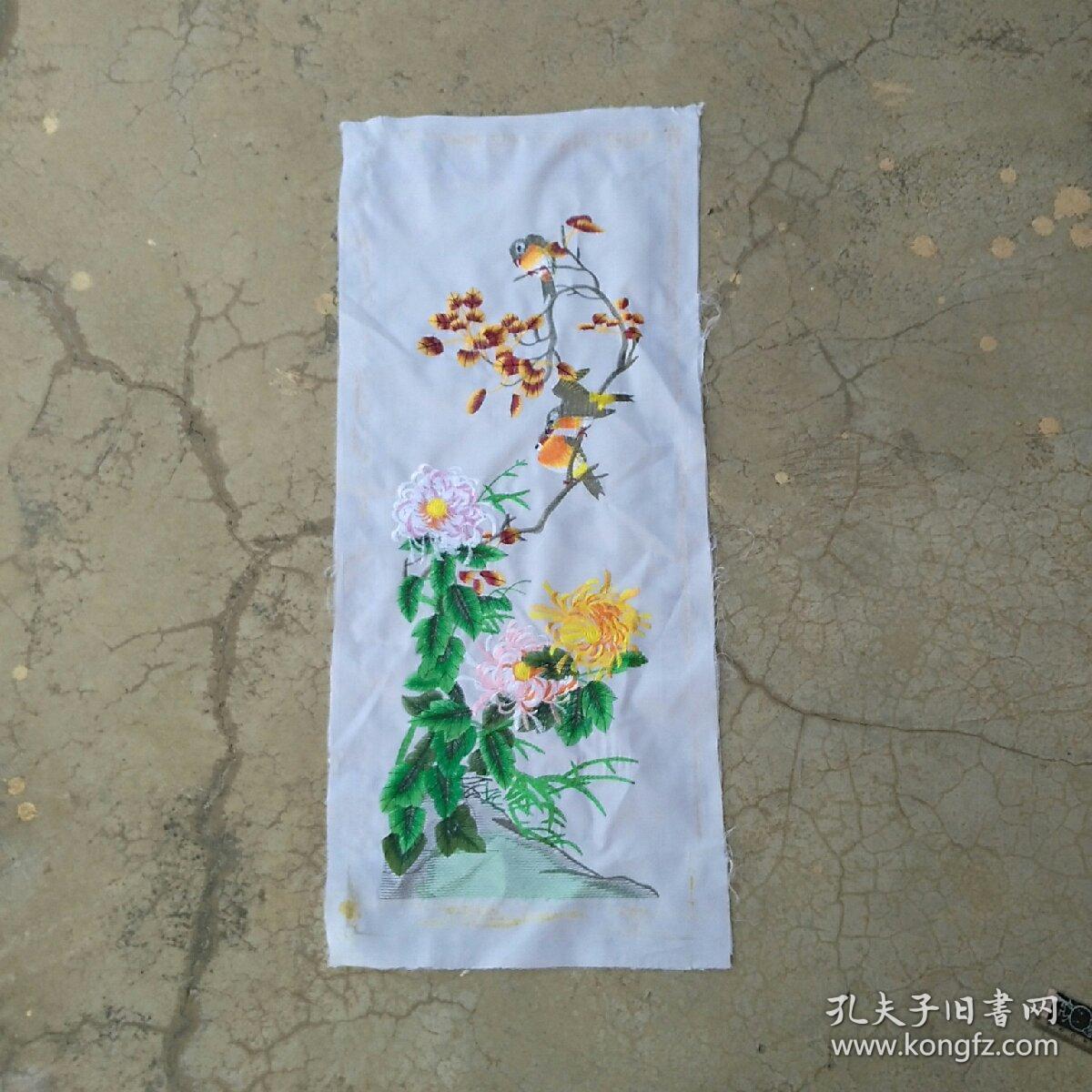 刺绣织品牡丹鸟