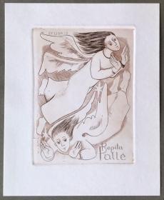 西班牙蚀刻版画藏书票原作 两个天使