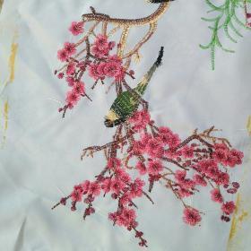 刺绣织品梅花鸟