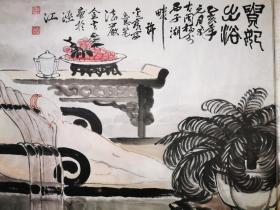 严金火美国华人画家高档KTV私人会所茶室可藏小6尺贵妃出浴180×68画心,未裱可以预定创作画
