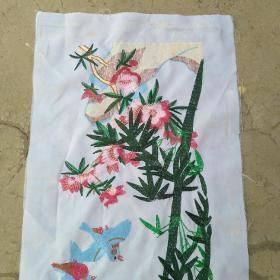 刺绣织品竹子鸟