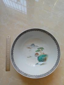山水粉彩碗