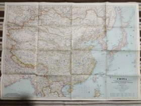 National Geographic国家地理杂志地图系列之1945年6月 China 二战时期中国地图