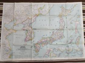 National Geographic国家地理杂志地图系列之1945年12月 Japan and Korea 日本韩国朝鲜地图