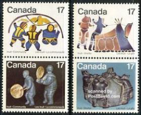 加拿大1979年爱斯基摩人(因纽特人)文化岩画.石雕 4全新 双联