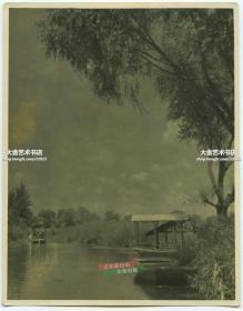 民国时期山东济南大明湖老照片,尺寸为12X9.4厘米,泛银