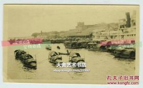 民国广东省广州珠江繁忙航道和汽轮航运码头一带老照片,10.9X6.4厘米,泛银