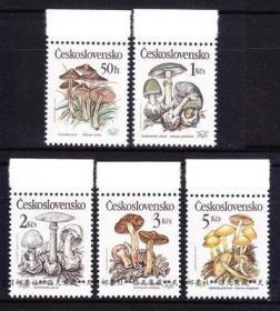 捷克斯洛伐克邮票 1989年有毒菌类.蘑菇 5全新 雕刻版
