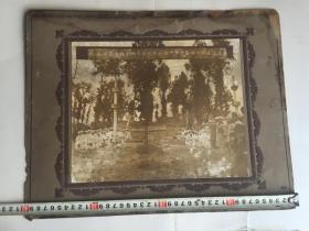 稀见 1927年 大幅原版西安民俗老照片《中华民国十六年阴历十一月二十三日葬母於祖茔墓前摄影》  40X32CM